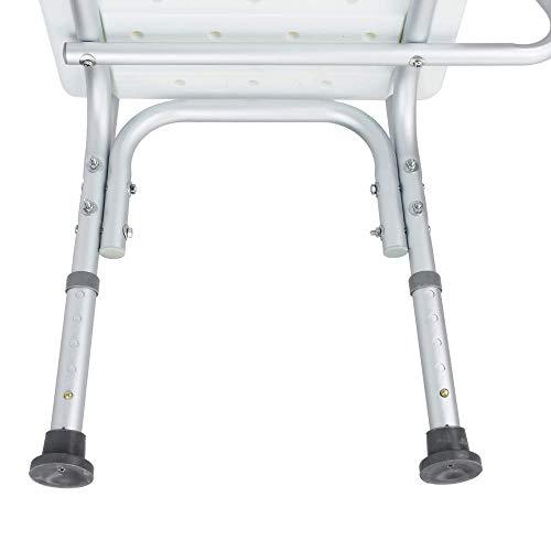 PrimeMatik Silla de ducha antideslizante regulable en altura con resposabrazos para personas mayores